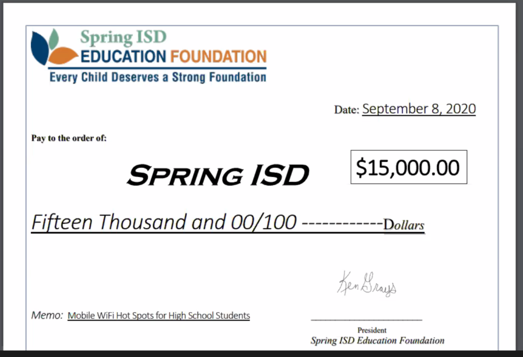 Spring ISD Education Foundation presents $15,000 to Spring ISD