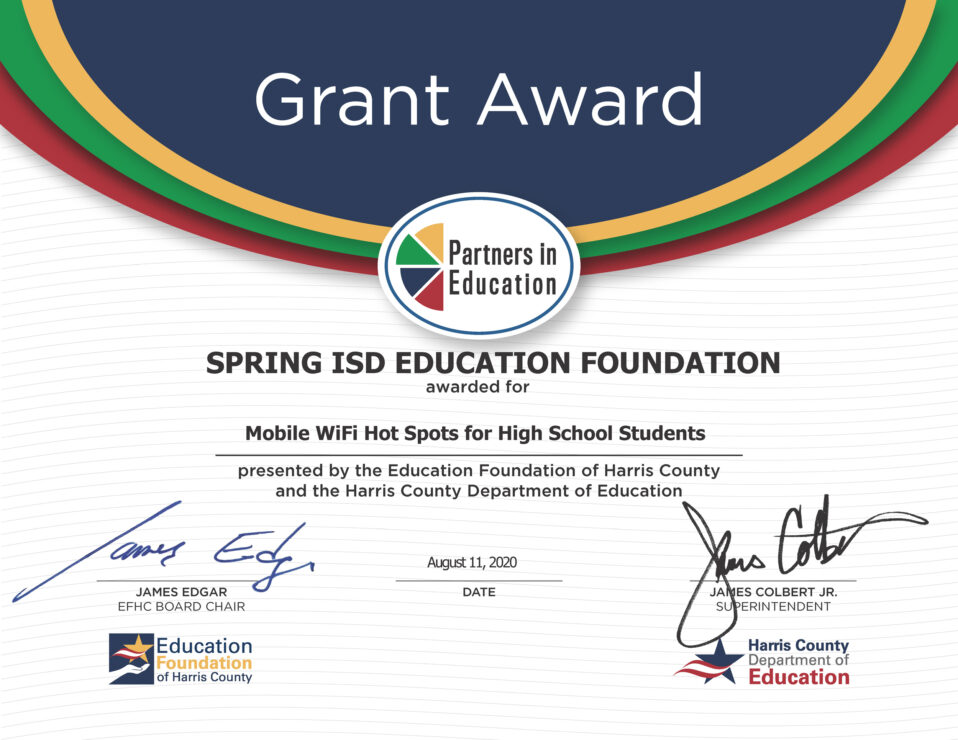 Grant Award to Spring ISD Education Foundation for Mobile WiFi Hot Spots for High School Students